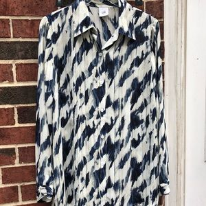 NWT CAbi Blue white moody blue shirt